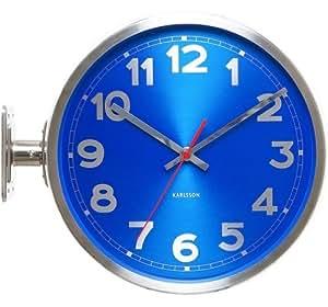 Karlsson KA5503BL Horloge Murale Chiffres Double Face Aluminium Bleu 31 cm