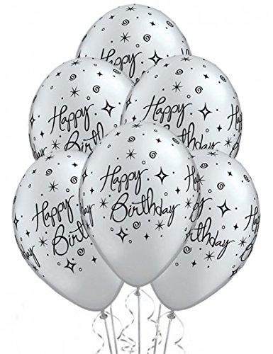 7928rund Geburtstag Elegant Sparkles Latex Ballon, silber, 28cm (Aufblasbare Partei Dekoration)