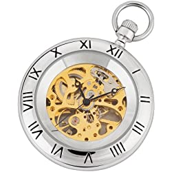 Silver and Gold Mechanical Pocket Watch with Chain and Fob