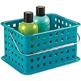 mDesign Caja organizadora baño – Organizador de maquillaje y cosméticos - 23,5 cm x 17,8 cm x 12,7 cm – Color: turquesa oscuro