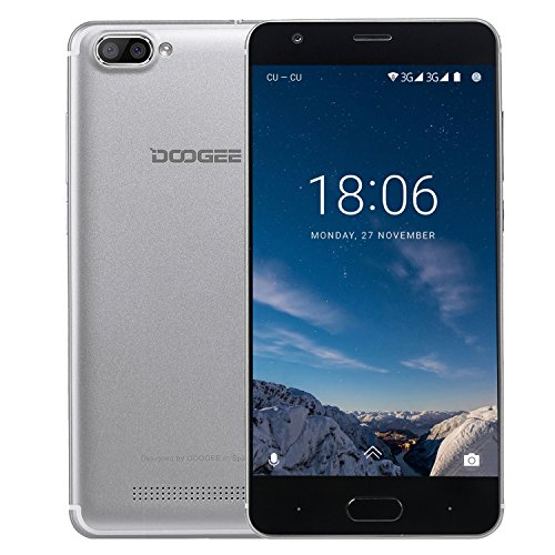 Handy ohne Vertrag, DOOGEE X20 Dual SIM Android 7.0 Smartphone, 3G 5 Zoll HD IPS Display Smartphones Guenstiges, 1GB RAM + 16GB ROM mit MT6580 Prozessor, 2.0MP + Dual 5.0MP kamera - Silber