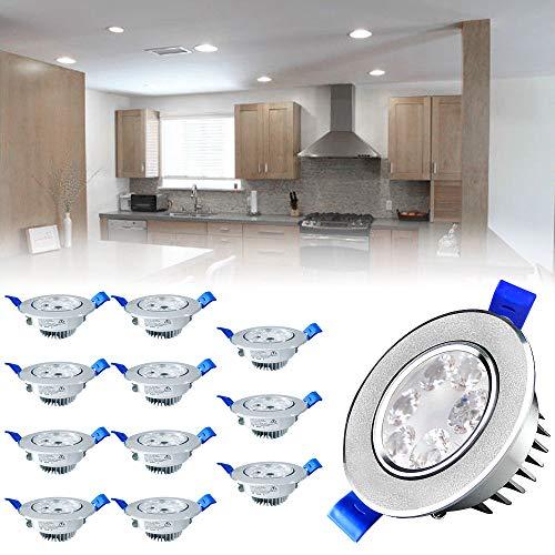 SAILUN Lot de 12 spots LED 3W Blanc Froid LED Spot Encastrable Plafonnier Lampe Spot Spot Set Projecteurs encastrés 6000-6500K 280LM AC 85V-265V