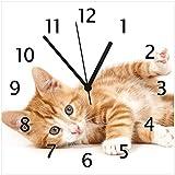 Wallario Glas-Uhr Echtglas Wanduhr Motivuhr • in Premium-Qualität • Größe: 30x30cm • Motiv: Süße Katze mit großen Augen - rot weiß getigert