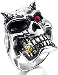 MunkiMix Large Stainless Steel Ring CZ Black Silver Gold Two Tone Red Devil Skull Men