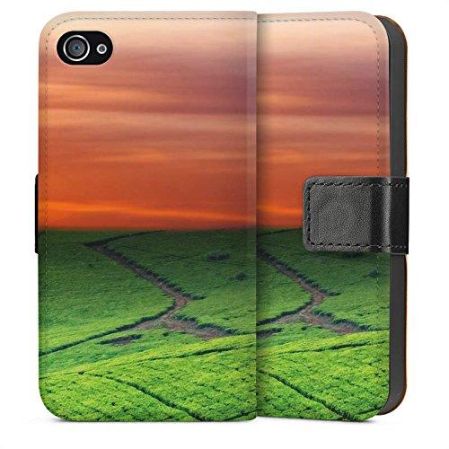 Apple iPhone 6 Housse Étui Silicone Coque Protection Paysage de prairies Coucher de soleil Irlande Sideflip Sac