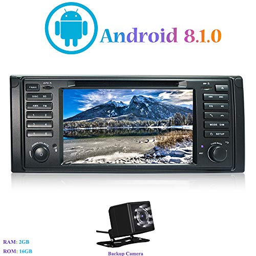 "Android 8.1.0 Autoradio, Hi-azul In-Dash Car Radio 7"" Car Stereo 4-Core GPS Navigation Moniciver Navi Car Audio mit CD/DVD-Player für BMW 5-E39/BMW X5-E53 (mit Rückfahrkamera)"
