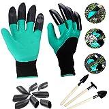 Garten Genie Handschuhe, NEWANIMA 1 Paar Gartenhandschuhe mit Klauen Zum Graben & Bepflanzen + 8Pcs Krallen + 3Pcs Garten Mini-Werkzeugset
