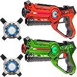 Light Battle 2 Active Laser Tag spielzeugpistole für Kinder: 1x laserpistole grün und 1x lasertag Pistole orange +2 Westen - LBAPV22212