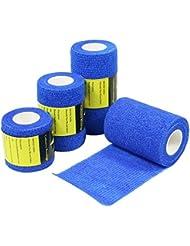 6 Rouleaux de Bandage Cohésive, Gaze Bandage, Bandage Sportif, 7.5cm x 4.5m - Bleu