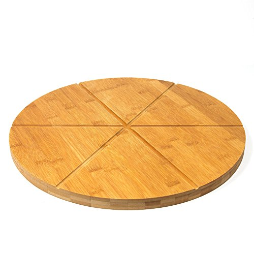 "Woodluv Bamboo Pizza Cake Serving Cutting Platter Board, 15.7"" (40cm) 6 Sections Wooden Snack Canape Platter"