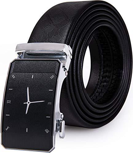 YOHOWA Hombres Cinturón, Negro Auténtico Cuero Cinturón Plata Automático Trinquete Hebilla Novedad Sin hogar Cinturón Diseñador Regalo
