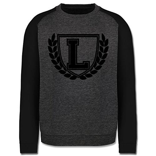 Anfangsbuchstaben - L Collegestyle - Herren Baseball Pullover Dunkelgrau Meliert/Schwarz