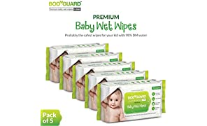 BodyGuard Premium Paraben Free Baby Wet Wipes with Aloe Vera - 360 Wipes (Pack of 5)