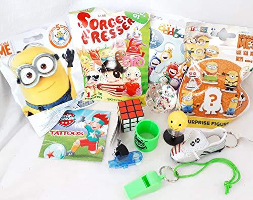 110104 12 Mitgebsel Geschenke für Jungs Füllung Schultüte Adventskalender mit Blindbags Playmobil Minions Sorgenfresser Flummi YoYo Zauberwürfel