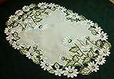 Markenlos klassische TISCHDECKE Platzdeckchen 30 x 45 cm oval champagner Gänseblümchen grün weiß gestickt (Platzdeckchen 30x45 cm oval)