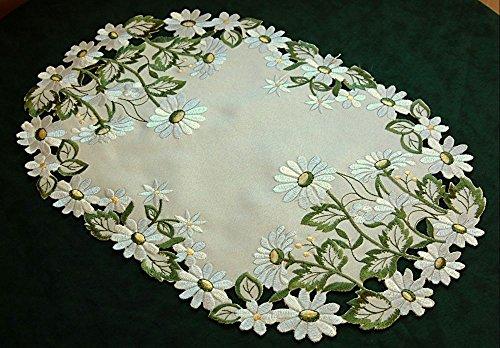 klassische TISCHDECKE Platzdeckchen 30 x 45 cm oval champagner Gänseblümchen grün weiß gestickt (Platzdeckchen 30x45 cm oval)