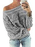 YOINS Schulterfrei Oberteile Damen Herbst Winter Off Shoulder Pullover Pulli für Damen Loose Fit mit Blumenmuster Grau-1 XS