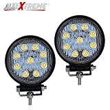 #1: AllExtreme 4 Inch 27W Round LED Work Light Spot Light Off Road Driving Light Fog Light Waterproof for Bike Truck Car ATV SUV Jeep Boat 4WD ATV 12V (Pack of 2)