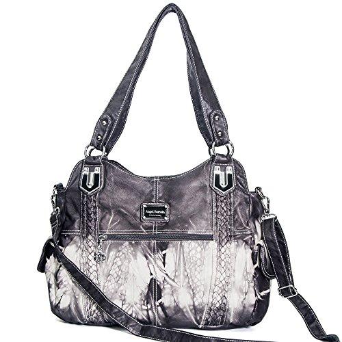 Angel Barcelo Geldbörsen und Handtaschen für Frauen Damen Umhängetasche Designer Tie Dye Satchel Fashion Totes für Mädchen (0044 Gray) - Batik-leder