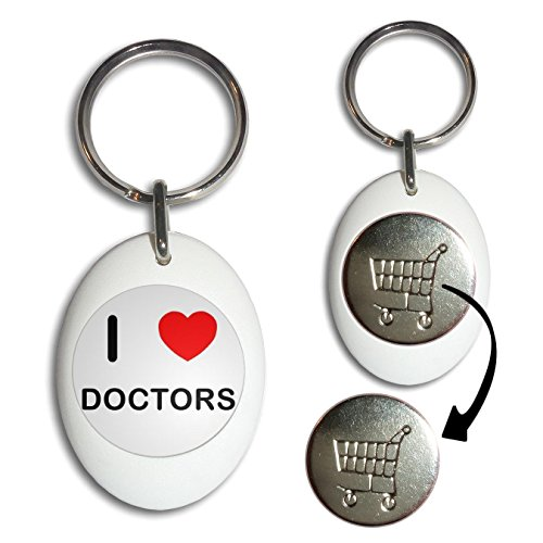 Image of I Love Doctors - White Plastic Shopping Trolley Key Ring