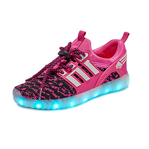 Scarpe Leggere per Bambini Scarpe da Ginnastica a LED per Ragazze (Regalo Perfetto per Bambini e Ragazzi)(Rosa-Nero EU 35)
