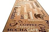Teppich Modern Flachgewebe Gel Läufer Küchenteppich Küchenläufer Braun Beige Schwarz mit Schriftzug Coffee Macchiato Cappuccino Espresso Größe 80 x 300 cm - 5