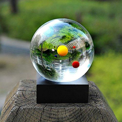 EgoEra reg; 3D Laser Geätzt Sonnensystem Kristallkugel mit Hölzern Ständer, Briefbeschwerer Glas Zuhause Deko Kreatives Geschenk