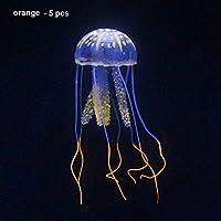 symboat 5pcs simulación medusas pez Depósito Acuario Decoración Ornamentos de silicona Incandescent efecto