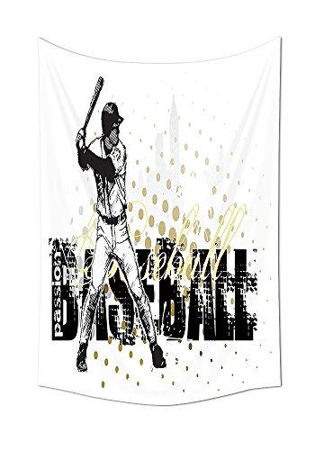Sport Decor Wandteppich für Baseball Hintergrund mit Punkte und Grunge Dark Schriftzug Batting Team Spiel Graphic Schlafzimmer Wohnzimmer Wohnheim Decor Schwarz Gelb Weiß, multi, 59W By 80L Inch (Home Vinyl-schriftzug Decor)