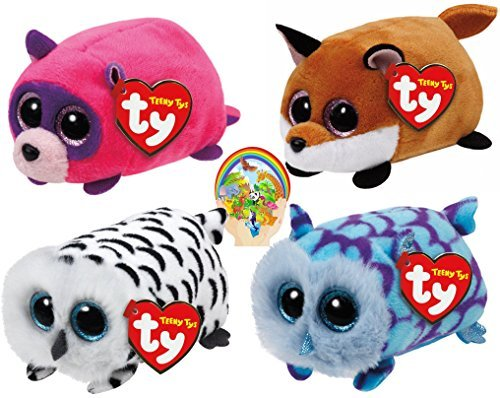 teenys-ty-mini-forest-friends-finley-fox-rugger-raccoon-mimi-blue-and-nellie-owls-set-of-4-with-bonu
