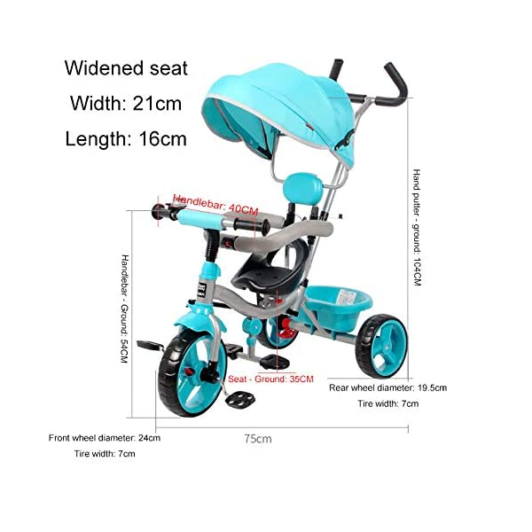 BGHKFF 4 In 1 Children's Hand Push Tricycle 10 Months To 6 Years 360° Swivelling Saddle Children's Pedal Tricycle Folding Sun Canopy Adjustable Handle Bar Child Trike Maximum Weight 25 Kg,Blue  ★Material: High carbon steel frame, suitable for children from 10 months to 6 years old, the maximum weight is 25 kg ★ 4 in 1 multi-function: can be converted into a stroller and a tricycle. Remove the hand putter and awning, and the guardrail as a tricycle. ★Safety design: golden triangle structure, safe and stable; front wheel clutch, will not hit the baby's foot; guardrail; rear wheel double brake 4