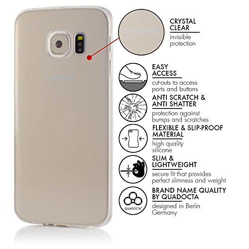 Samsung Galaxy S6 Edge Case - Schutzhülle - Simplex in transparent - Ultra dünne Galaxy Hülle aus flexibelen TPU - Slimcase - Durchsichtiges Galaxy Hülle aus Silikon von QUADOCTA® transparent