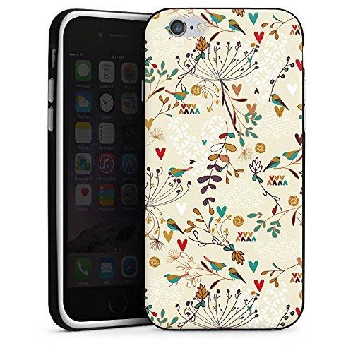 Apple iPhone X Silikon Hülle Case Schutzhülle Flower Retro Vögel Silikon Case schwarz / weiß
