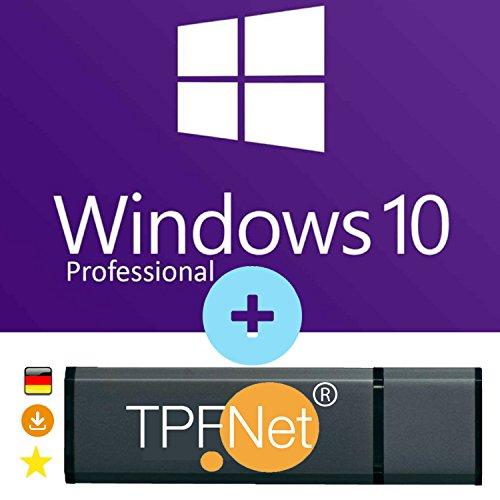 MS Windows 10 Pro 32 bit & 64 bit - Original Lizenzschlüssel mit bootfähigen USB Stick von - TPFNet® (Laptop Mit Software)