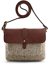 ECOSUSI Women Canvas and PU Leather Cross Body Bag Color Mixing Canvas Style