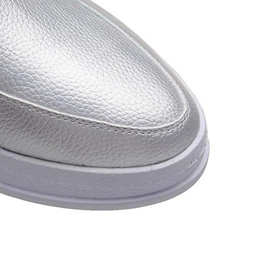 VogueZone009 Femme Lacet Fermeture D'Orteil Rond à Talon Bas Pu Cuir Couleur Unie Chaussures Légeres Argent