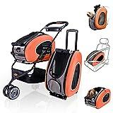 MC.PIG Cochecito Plegable Mascotas 5 en 1 Pet Carrier + Mochila + CarSeat + Pet Carrier Stroller + Carriers con Ruedas para Perros y Gatos, Todo en UNO (Color : Orange)