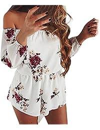 f6311454ecfcc Reaso Femmes Off Shoulder Combishort Fleur Impression Romper Manche Longue  Jumpsuit Short avec Poche Combinaisons Bodysuit