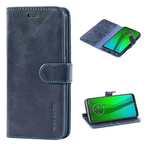 Mulbess Handyhülle für Moto G7 Hülle, Moto G7 Plus Hülle, Leder Flip Case Schutzhülle für Motorola Moto G7 / G7 Plus Tasche, Dunkel Blau