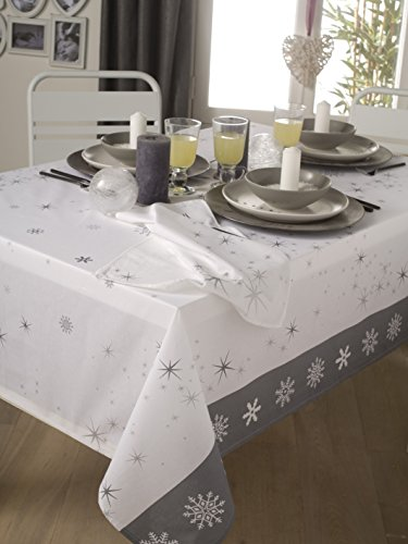Calitex Rain Star Tischdecke Polyester Baumwolle weiß 180x 180cm