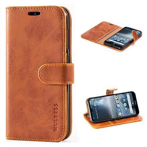 Mulbess Handyhülle für Nokia 4.2 Hülle, Leder Flip Case Schutzhülle für Nokia 4.2 Tasche, Cognac Braun