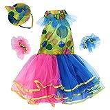 Sharplace Disfraz de Payasita Multicolor para Niñas en Varias Tallas con Tutú Vestido de Halloween Vestuario Teatro Carnaval - L