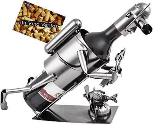 BRUBAKER Weinflaschenhalter Flaschenständer Taucher mit Kamera Deko-Objekt Metall mit Grußkarte für Weingeschenk