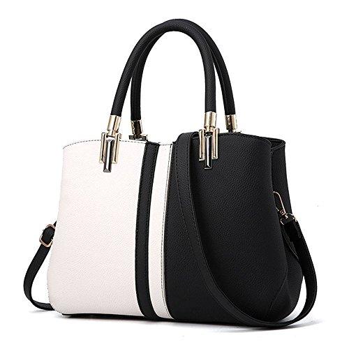 Tibes Top-Handle Handtasche Stitching Taschen Mode Geschenk für Frau/Freundin/Honig/Frauen/Mädchen Schwarz