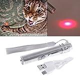ECMQS Gatos Teaser juguete, 3en 1Interactive LED Luz puntero Pen USB recargable linterna Pen