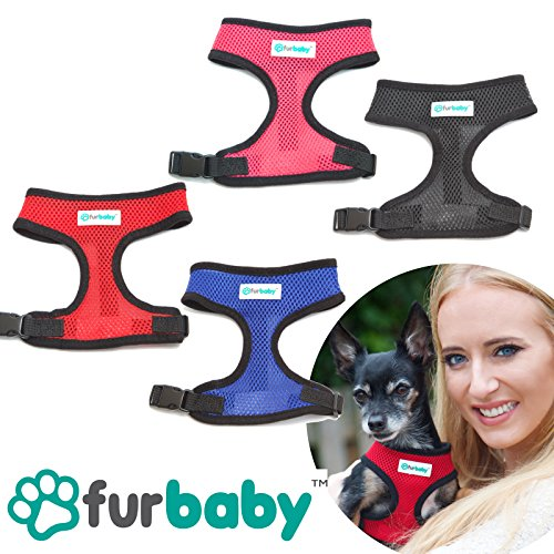 Furbaby Adjustable SMALL DOG Harness – No Pull Anti-Choke Fully Breathable & Comfortable Air Mesh Soft Fabric Design