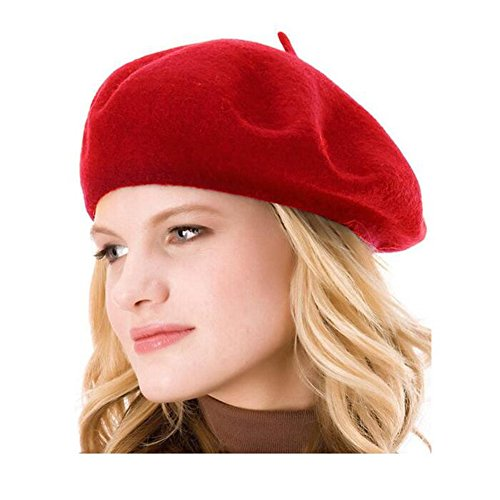 kimming 100% lana Solid Color francese berretto Beanie cappello Red