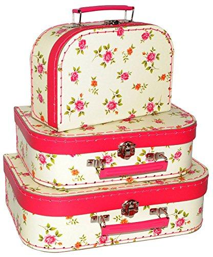 Koffer - KLEIN - ' Blumen & Rosen ' - Pappkoffer - Puppenkoffer - Kinderkoffer - für Kinder &...