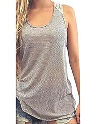Malloom mujeres verano encaje rayas chaleco Top sin mangas camiseta casual blusas (gris, XXXXXL)