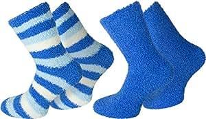 2 Paar Flauschsocken für Damen und Herren in verschiedenen Farben Farbe Blau Größe 35/38